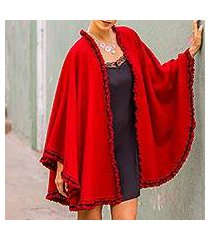 alpaca blend cape, 'andean snow princess in red' (peru)