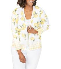 plus size women's foxcroft veronika lemon & gingham cardigan