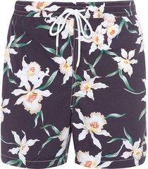 short masculino praia flor de iris - preto