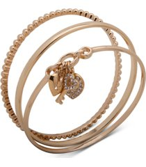 anne klein gold-tone 3-pc. set pave heart lock & key bangle bracelets