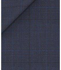 giacca da uomo su misura, loro piana, stretch principe di galles pura lana tinta unita blu scuro, quattro stagioni | lanieri