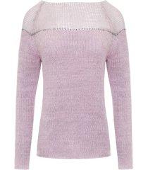 sweter ze srebrną nitką różowy