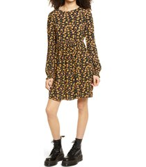 women's bp. print long sleeve dress, size x-small - black