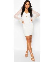 bandage mini dress with ring, ivory