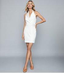 reiss immy - twill halterneck tux dress in white, womens, size 14