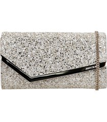 jimmy choo emmie clutch in beige leather