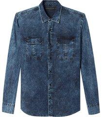 camisa john john lucas jeans azul masculina (jeans escuro, gg)