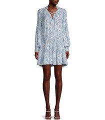 parker women's hays botanical-print silk dress - white blue - size s