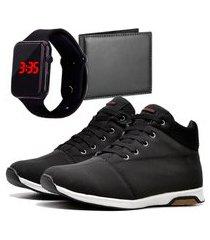 sapatênis urbano com carteira e relógio dubuy 1101db preto