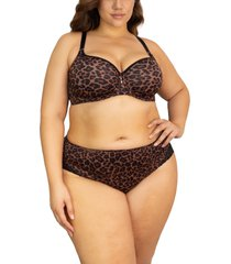 women's curvy couture tulip smooth convertible underwire push-up bra, size 46g - brown