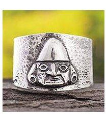 sterling silver cuff bracelet, 'man of sican' (peru)