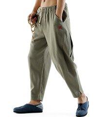 uomo retro pantaloni in cotone lino sciolti con coulisse in colore a tinta unita