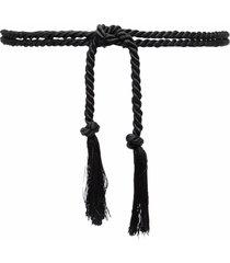 forte forte tie-fastening braided tassel belt - black