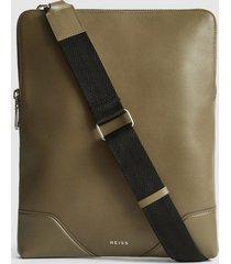 reiss elliott - leather laptop messenger bag in clay, mens