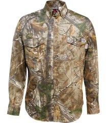 wolverine men's fr twill long sleeve shirt realtree camo, size l