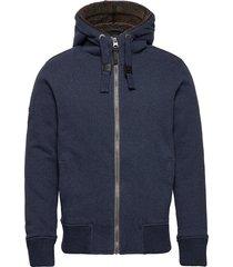 hemmingway fur lined ziphood hoodie trui blauw superdry