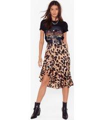 womens so fierce leopard skirt - brown