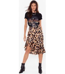 womens so fierce leopard skirt - brown