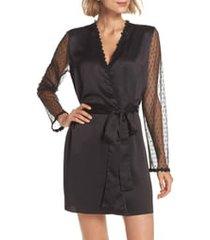 women's flora nikrooz showstopper robe, size large - black