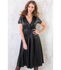 leren plisse jurk zwart