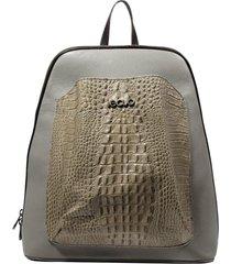 mochila de couro recuo fashion bag cinza/bege