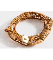 annabella beaded leather wrap bracelet - natural