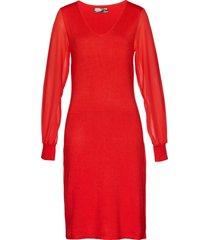 abito in maglia con maniche in chiffon (rosso) - bpc selection