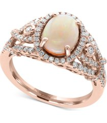 aurora by effy opal (1 ct. t.w.) and diamond (1/2 ct. t.w.) ring in 14k rose gold