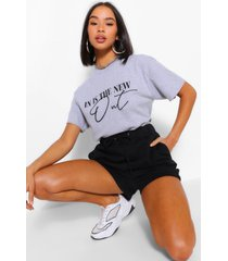 in is the new out slogan t-shirt, grey marl
