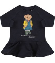 ralph lauren blue babygirl dress with colorful teddy bear