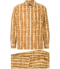 comme des garçons pre-owned pajama zip-up suit - brown