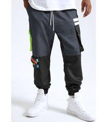 hombre casual multicolor empalme bolsillo con solapa carga pantalones