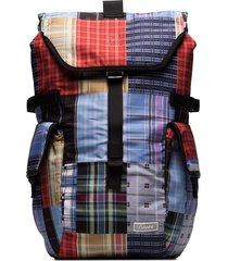 ganni check patchwork backpack - blue
