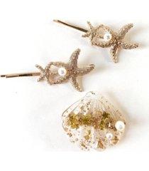 soho style mermaid starfish and seashell hair clip three-piece set