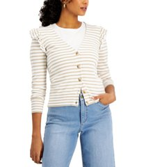 charter club petite striped ruffle-trim cardigan, created for macy's