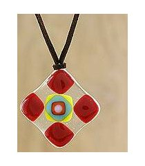 art glass pendant necklace, 'scarlet treat' (thailand)