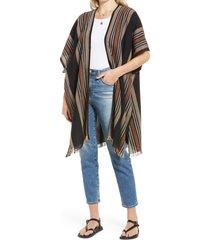 women's treasure & bond stripe wearable scarf, size one size - black