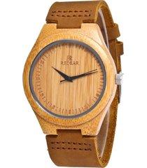 redear orologi artigianali in legno di bambù naturale fatti a mano orologi da uomo minimalisti in vera pelle