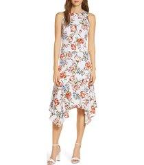 women's maggy london floral print charmeuse midi dress