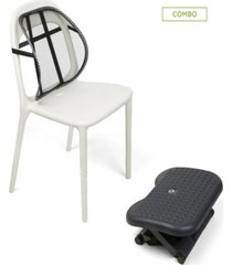 mind reader mesh lumbar support cushion with ergonomic foot rest, black
