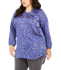 ny collection plus size ruffled-collar high-low top