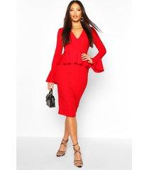 flared sleeve peplum midi dress, red