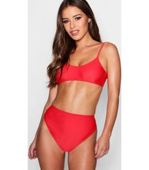 petite strappy high waisted bikini, red
