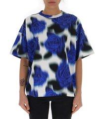 blurry-print floral t-shirt