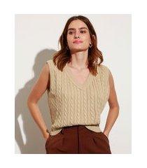 colete de tricô texturizado trança decote v mindset bege