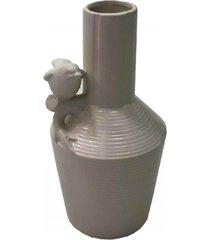 enfeite decorativo vaso com pássaro resina branco 21x12x12cm