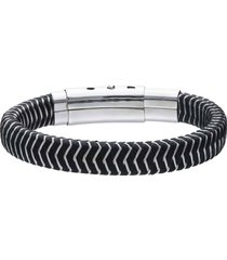 bracciale in corda nero con chiusura in acciaio per uomo