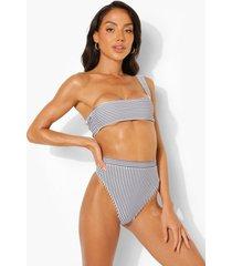 mono gestreept bikini broekje met hoge taille, mono