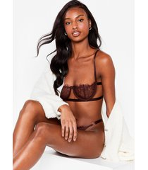 womens just in lace bralette and thong set - chocolate