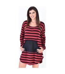 camisola mundo dos pijamas manga longa coracao vermelha